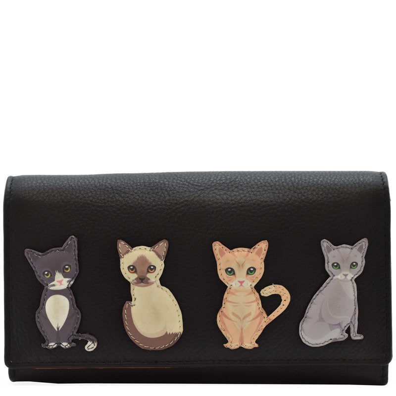 Mala Black Tan Leather Cats Matinee Purse