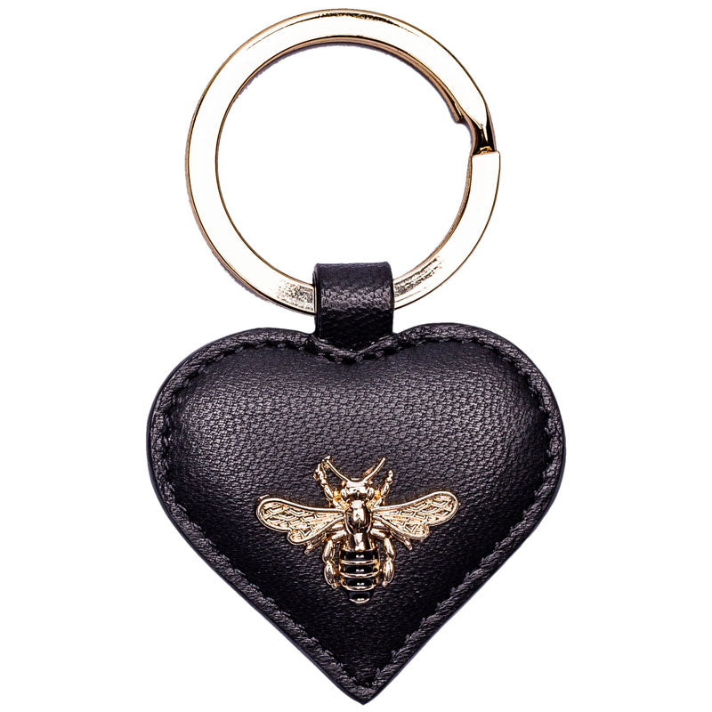 Mala Black Leather Bee Motif Keyring