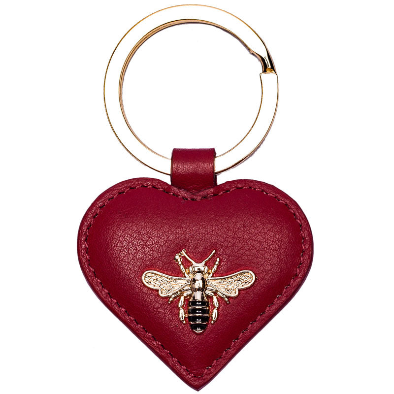 Mala Red Leather Bee Motif Keyring