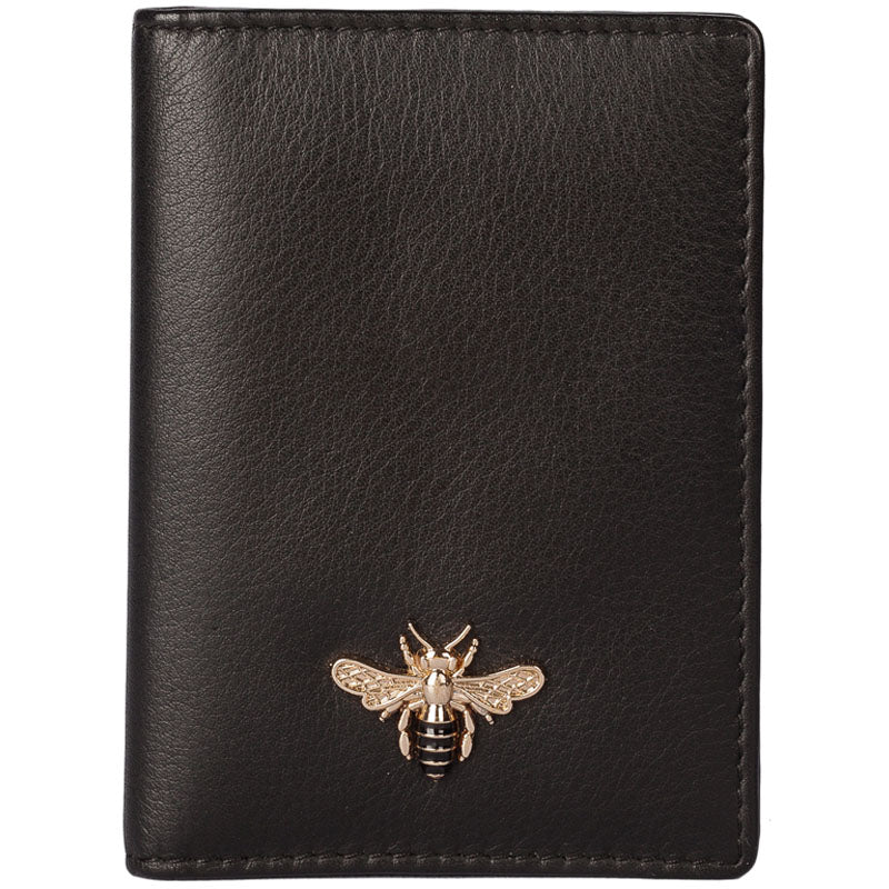 Mala Black Leather Bee Motif Card And Travel Pass Holder