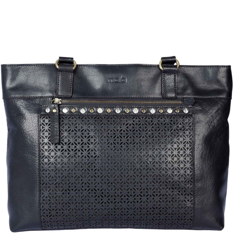 Mala Black Leather Shoulder Bag Work Bag Tote Bag Shopper.