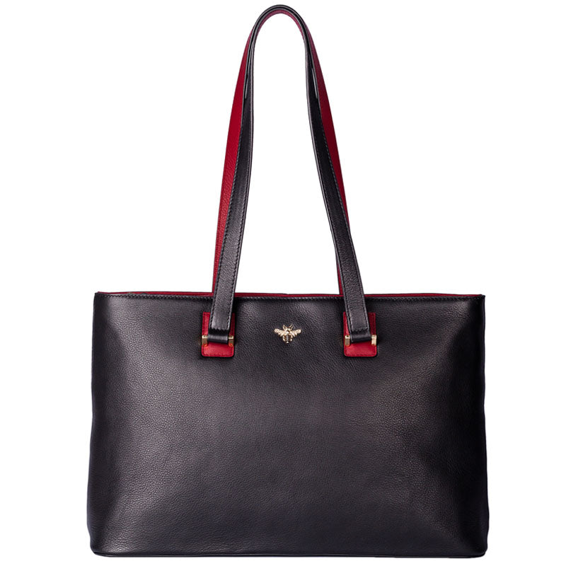 Mala Black Red Leather Bee Motif Shoulder Bag Work Bag Tote Bag Shopper.