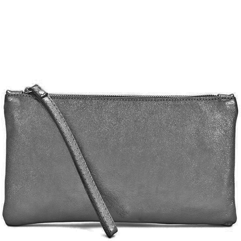 Your Bag Heaven Pewter Metallic Leather Clutch Bag Wrist Bag