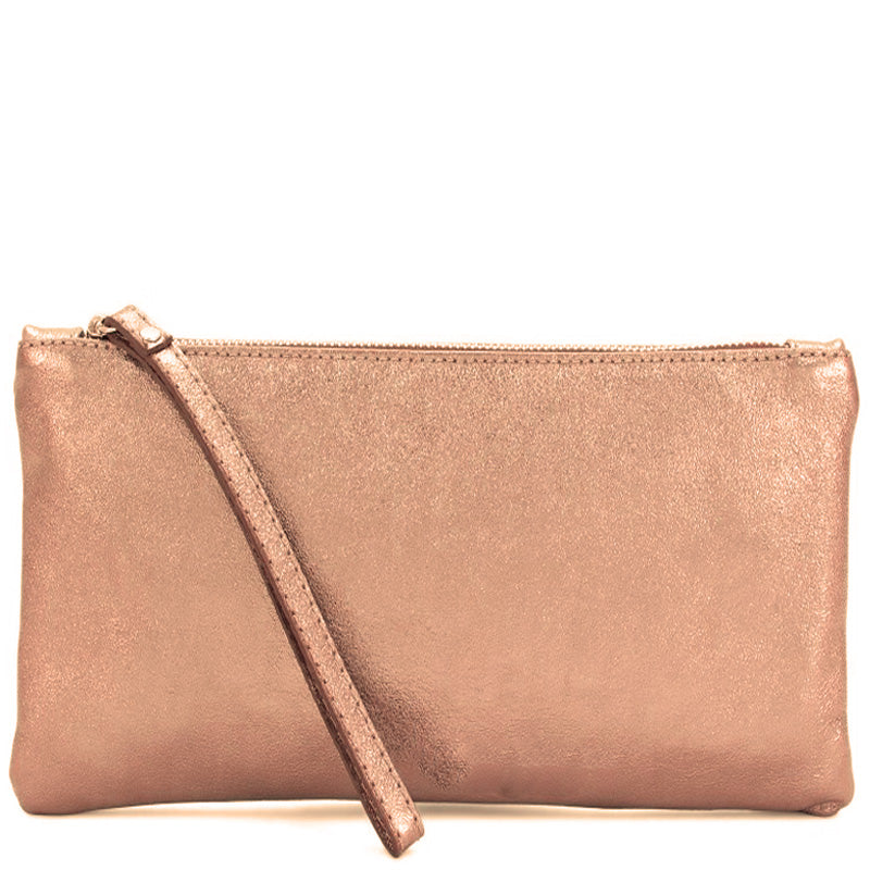 Your Bag Heaven Rose Gold Metallic Leather Clutch Bag Wrist Bag