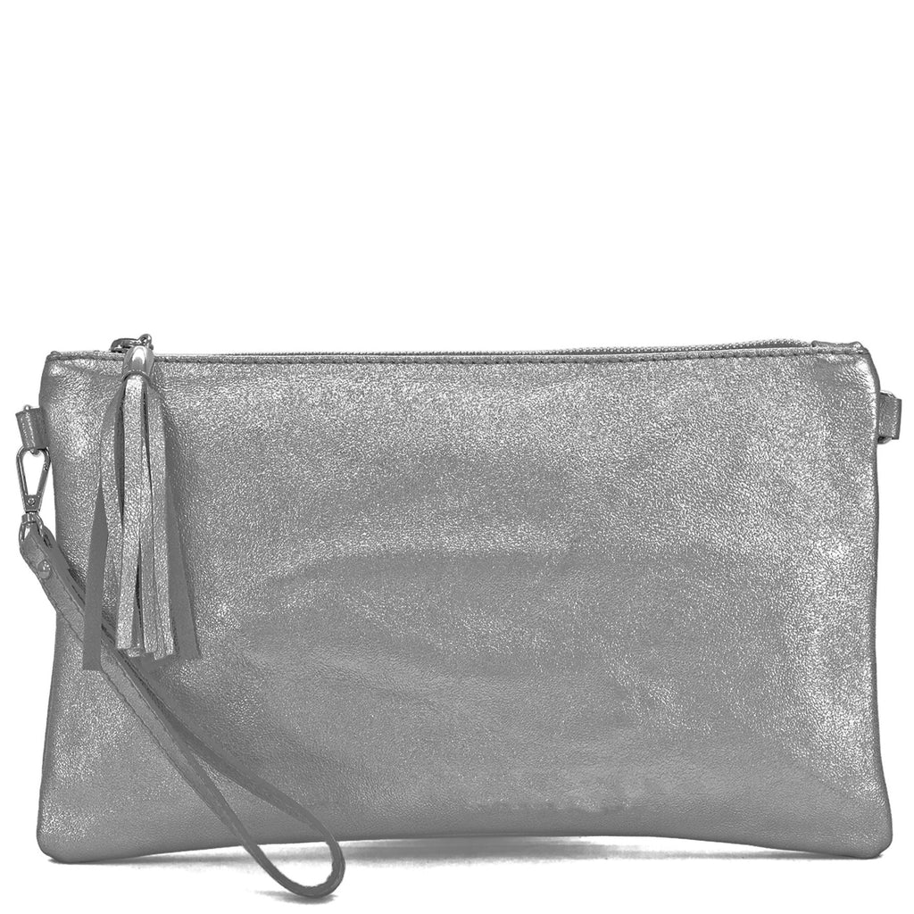 Your Bag Heaven Pewter Metallic Leather Clutch Bag Wrist Bag Crossbody Shoulder Bag