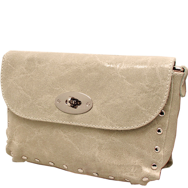 Your Bag Heaven Beige Crackle Leather Crossbody Shoulder Bag