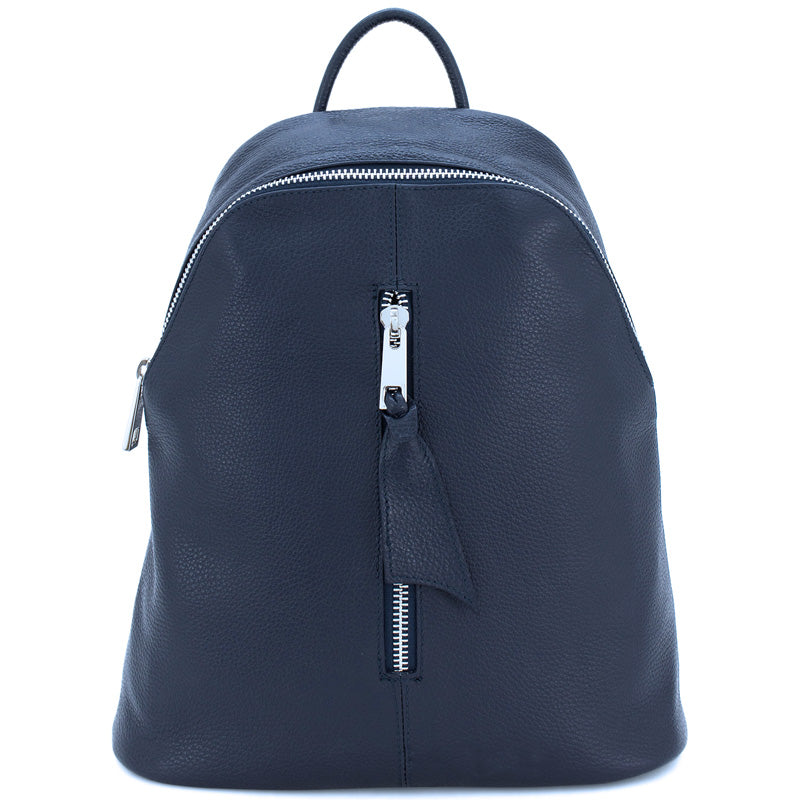 Your Bag Heaven Navy Blue Leather Men's or Ladies Backpack Grab Bag