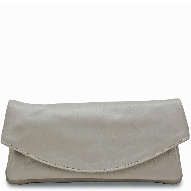 Your Bag Heaven Light Grey Soft Leather Clutch Bag Crossbody Shoulder Bag