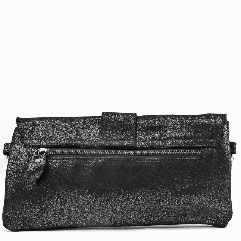 Malissa J Black Metallic Leather Clutch Bag Wrist Bag Cross Body Bag Shoulder Bag