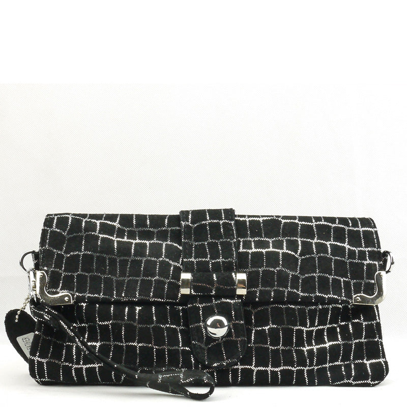 Malissa J Black Silver Metallic Leather Clutch Bag Wrist Bag Cross Body Bag Shoulder Bag