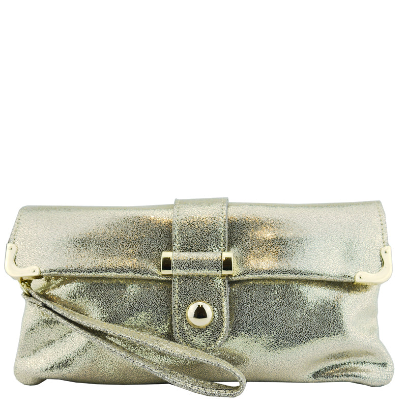 Malissa J Gold Metallic Leather Clutch Bag Wrist Bag Cross Body Bag Shoulder Bag