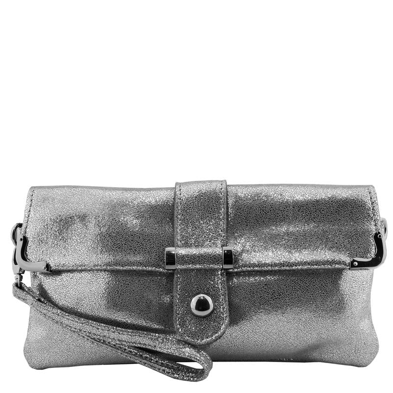 Malissa J Pewter Metallic Leather Clutch Bag Wrist Bag Cross Body Bag Shoulder Bag