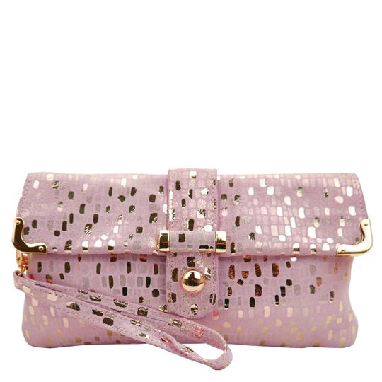 Malissa J Pink Metallic Leather Clutch Bag Wrist Bag Cross Body Bag Shoulder Bag