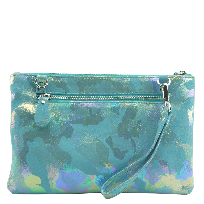 Malissa J Blue Soft Leather Clutch Bag Wrist Bag Crossbody Bag Shoulder Bag
