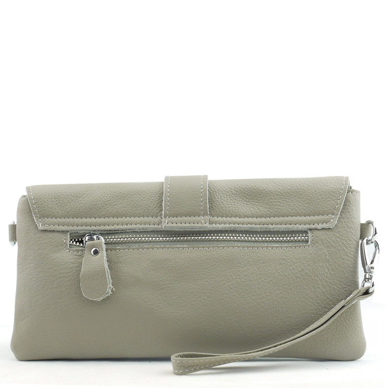Malissa J Matt Taupey Grey Soft Leather Clutch Bag Wrist Bag Cross Body Bag Shoulder Bag