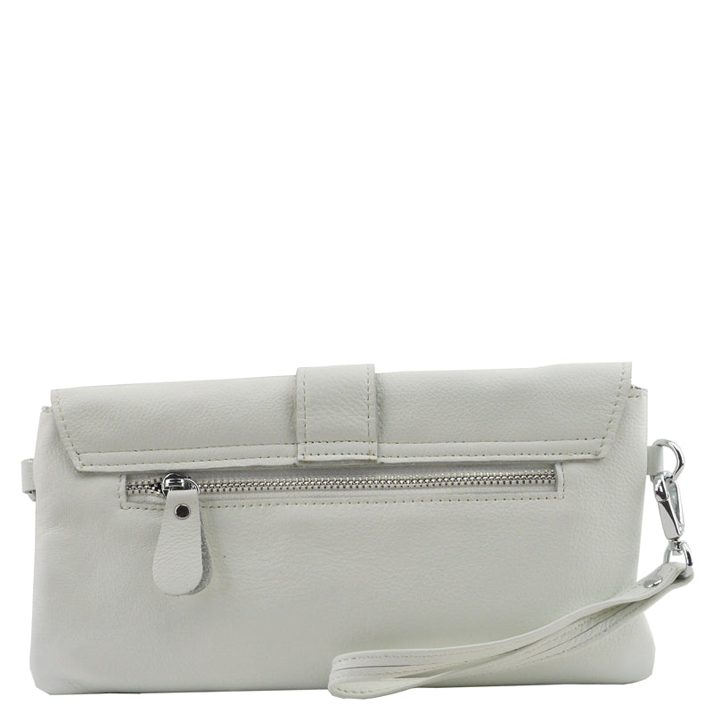 Malissa J Matt White Soft Leather Clutch Bag Wrist Bag Cross Body Bag Shoulder Bag