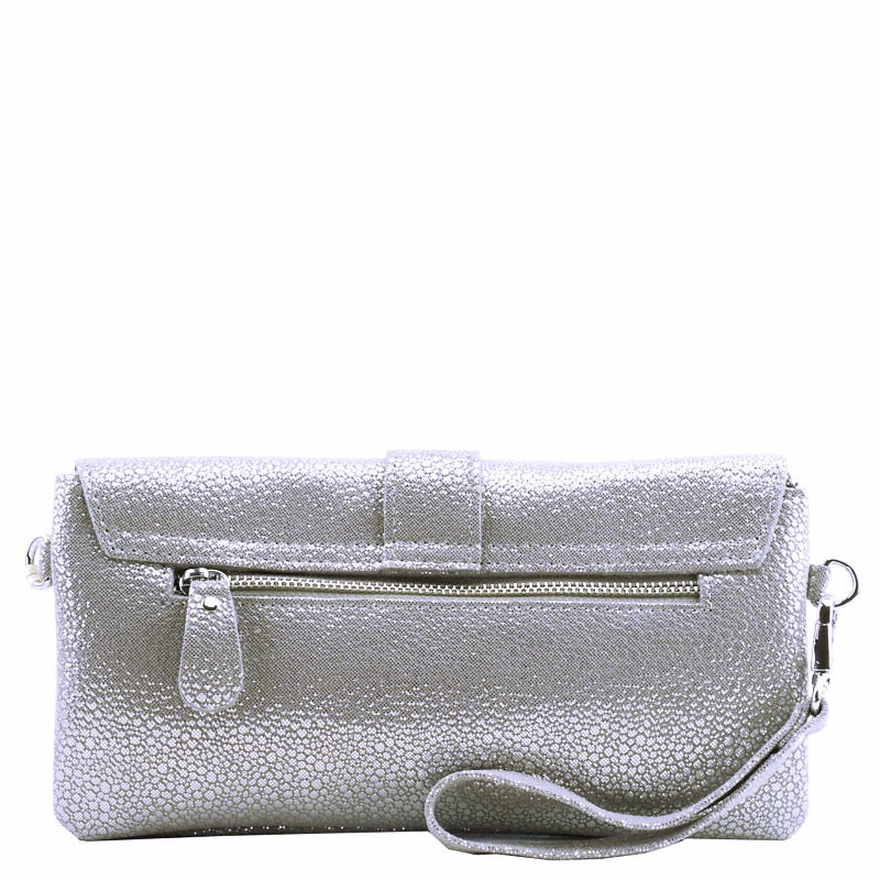 Malissa J Light Silver Soft Leather Clutch Bag Wrist Bag Cross Body Bag Shoulder Bag