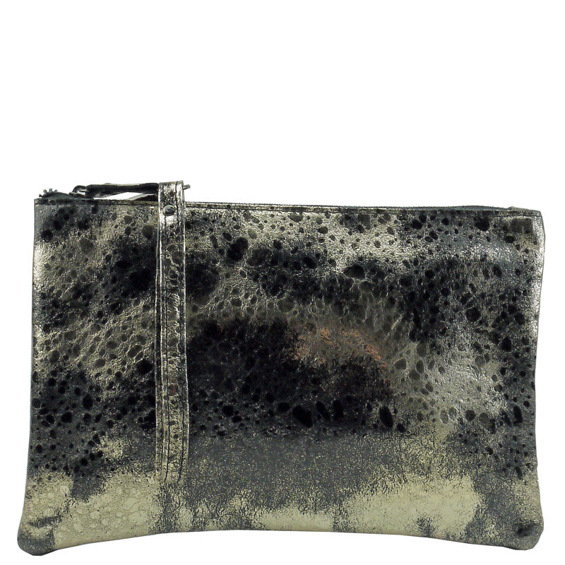 Malissa J Gold Black Metallic Leather Clutch Bag Wrist Bag Cross Body Bag Shoulder Bag