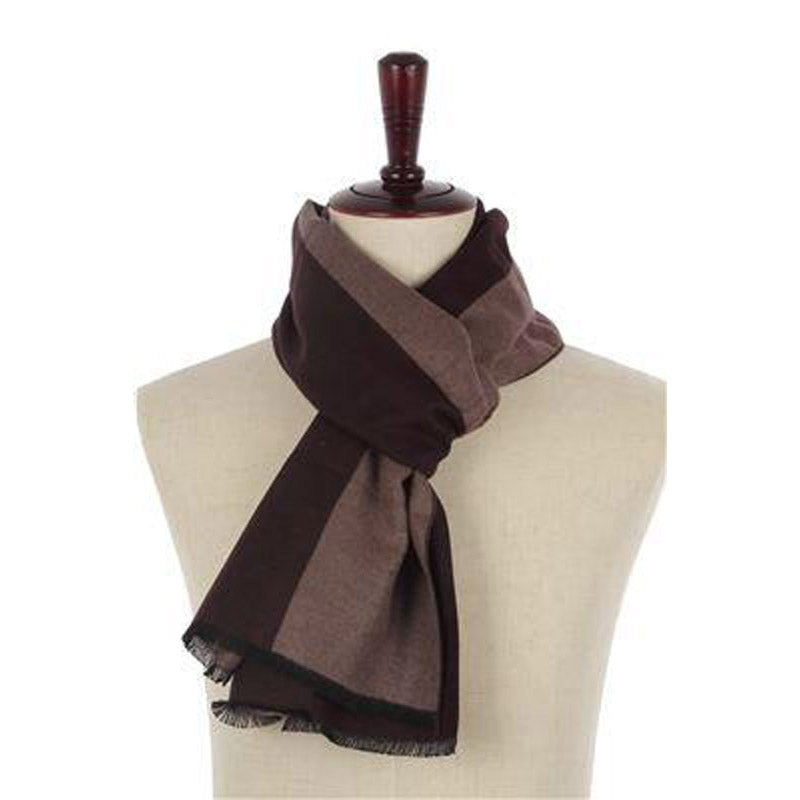 Click And Collect (Scarf Collection) Brown And Oatmeal Plain Mens Scarf