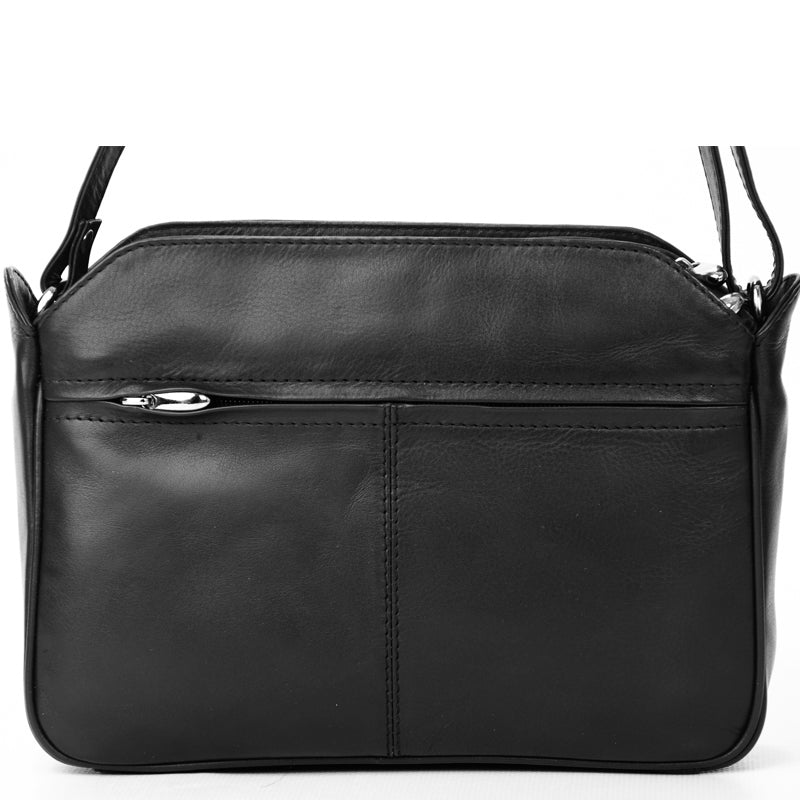 Nova Leathers Black Soft Leather Crossbody Shoulder Bag