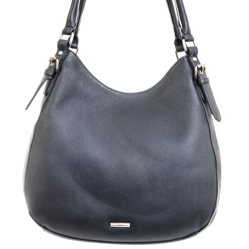 Nova Leathers Navy Blue Soft Leather Three Quarter Shoulder Bag
