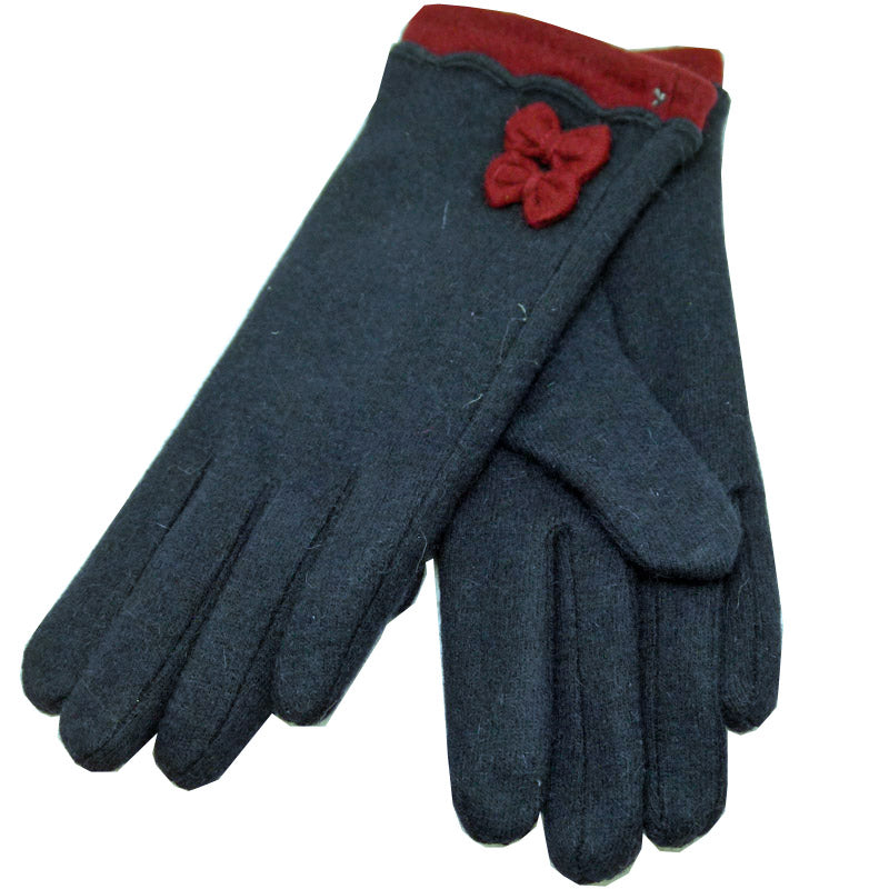 Click And Collect (Gloves Collection) Navy Red Bow Ladies Gloves