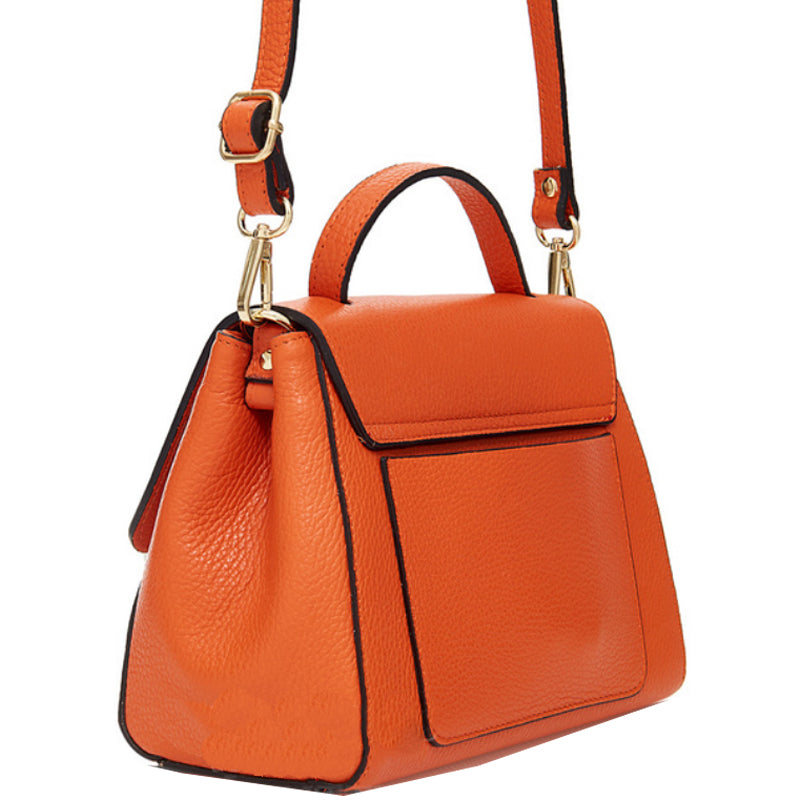 Your Bag Heaven Orange Leather Grab Bag Crossbody Shoulder Bag