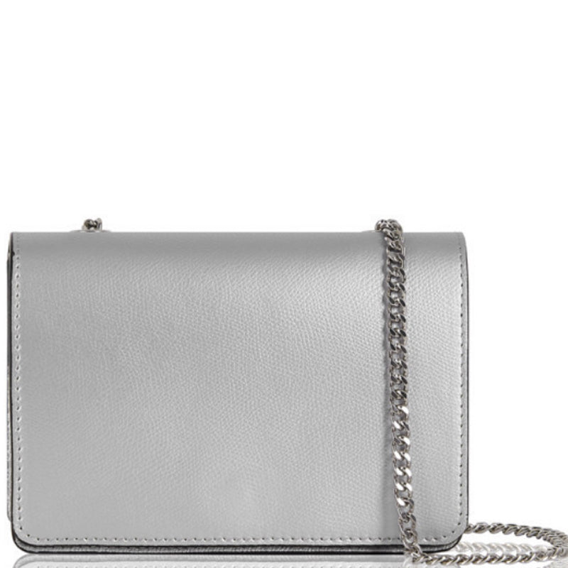 Your Bag Heaven Silver Metallic Leather Clutch Bag Crossbody Shoulder Bag