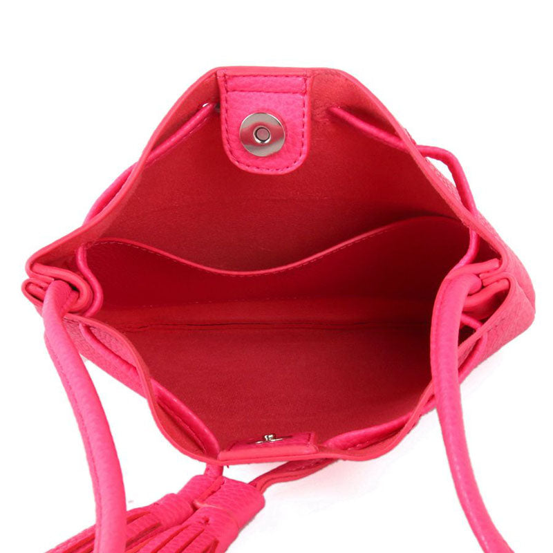 Red Cuckoo Fuschia Vegan Cross Body Shoulder Bag Drawstring Bag