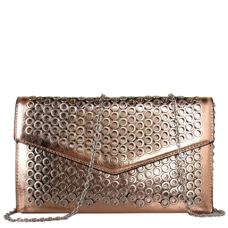 Red Cuckoo Vegan Metallic Champagne Clutch Bag Evening Bag Shoulder Bag