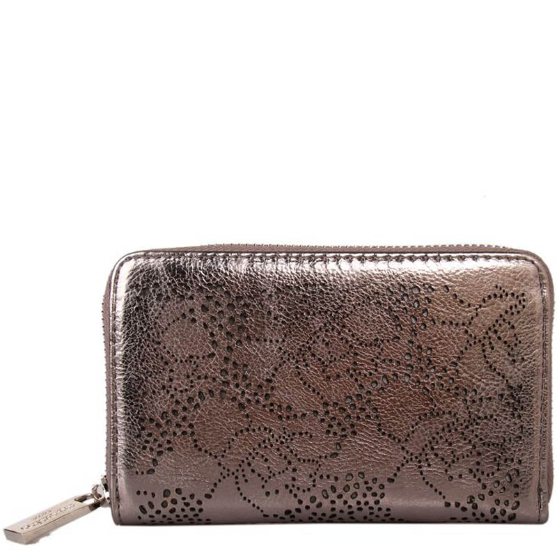Red Cuckoo Metallic Grey Vegan Zip Around Ladies Purse