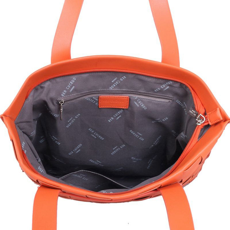 Red Cuckoo Orange Vegan Shoulder Bag Tote Bag Shopper work bag