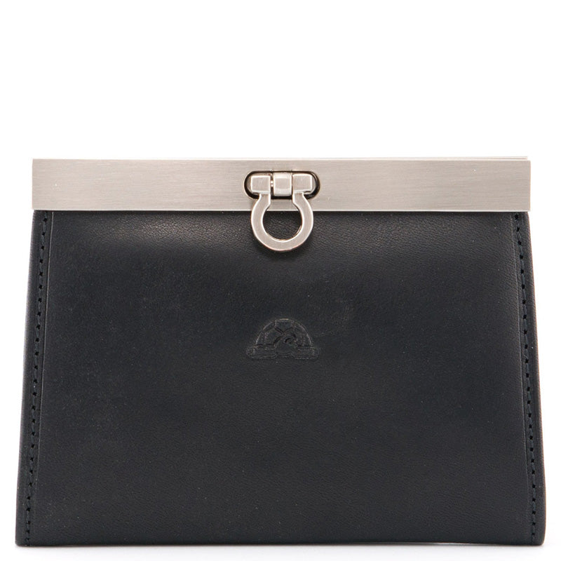 Tony Perotti Black Leather Card Coin Purse