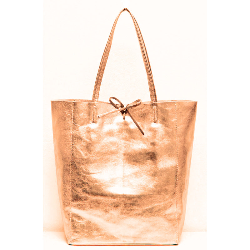 Your Bag Heaven Metallic Rose Gold Soft Leather Tote Bag Shopper Bag