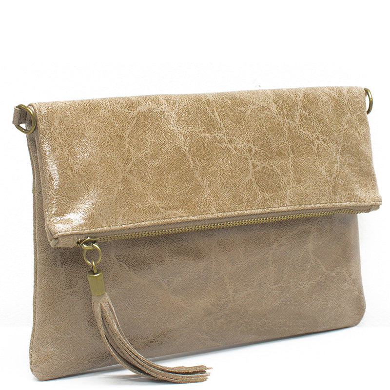 Your Bag Heaven Taupe Leather Clutch Bag Cross Body Bag Shoulder Bag