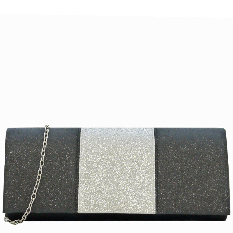 Your Bag Heaven Black Silver Clutch Bag Evening Bag Shoulder Bag