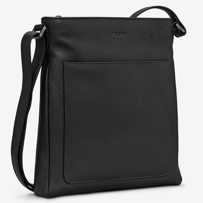 Yoshi Black Soft Leather Cross Body Bag Shoulder Bag