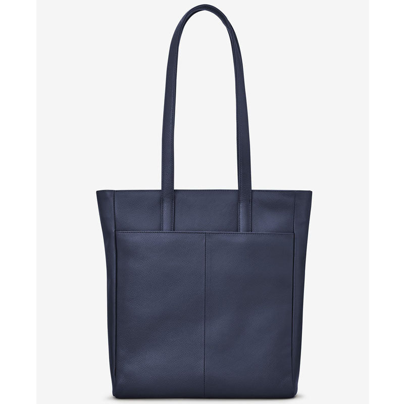 Yoshi Navy Blue Soft Leather Shoulder Bag Work Bag Tote Bag