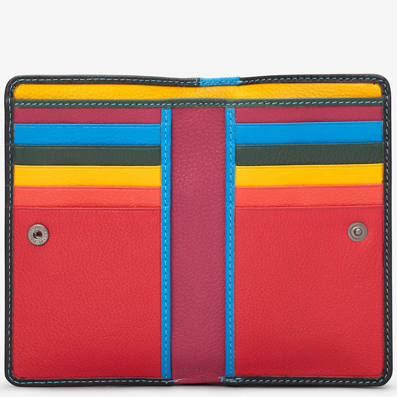 Yoshi Black Multi Coloured Leather Front Flap Purse