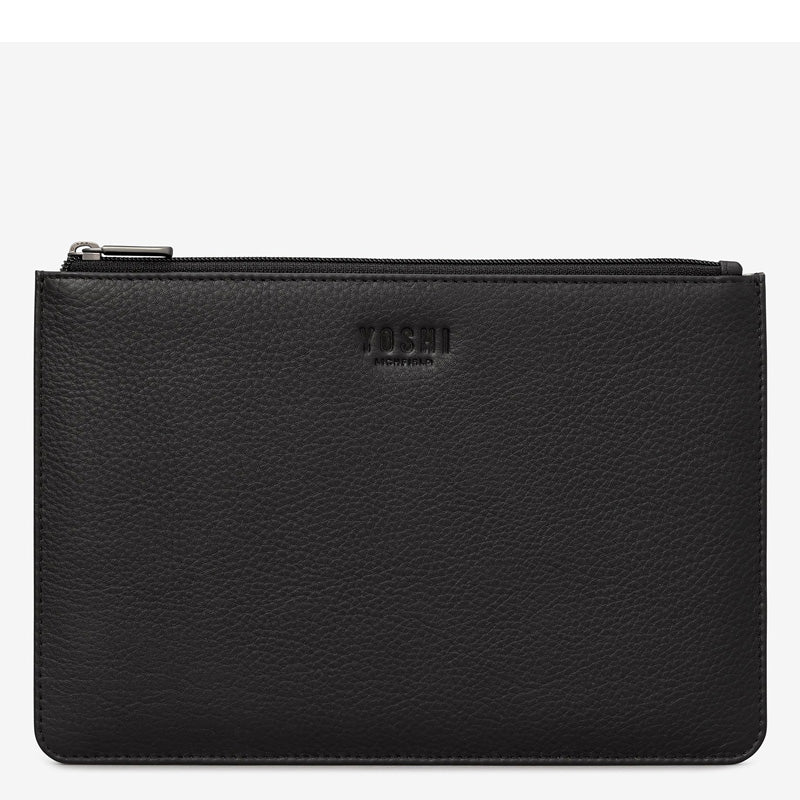 Yoshi Black Leather Top Zip Pochette