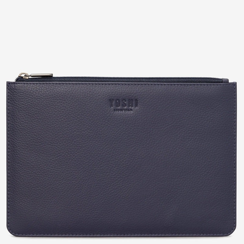 Yoshi Navy Blue Leather Top Zip Pochette