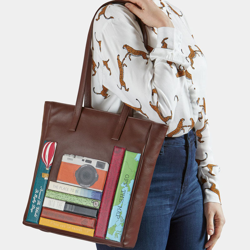 Yoshi Brown Multi Leather Shoulder Bag Work Bag Tote Bag
