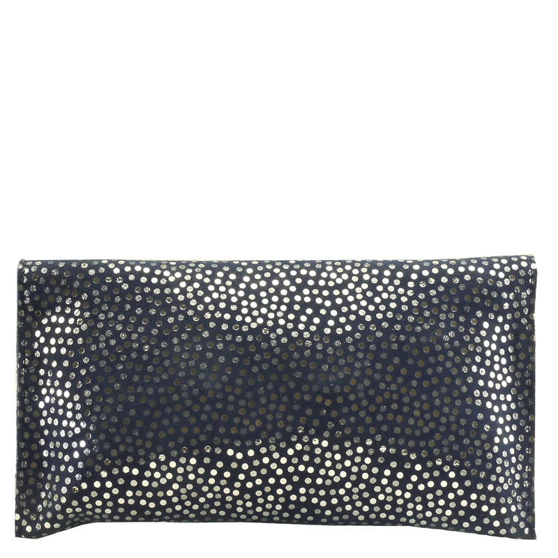 Malissa J Navy Blue Soft Leather Clutch Bag Evening Bag Shoulder Bag