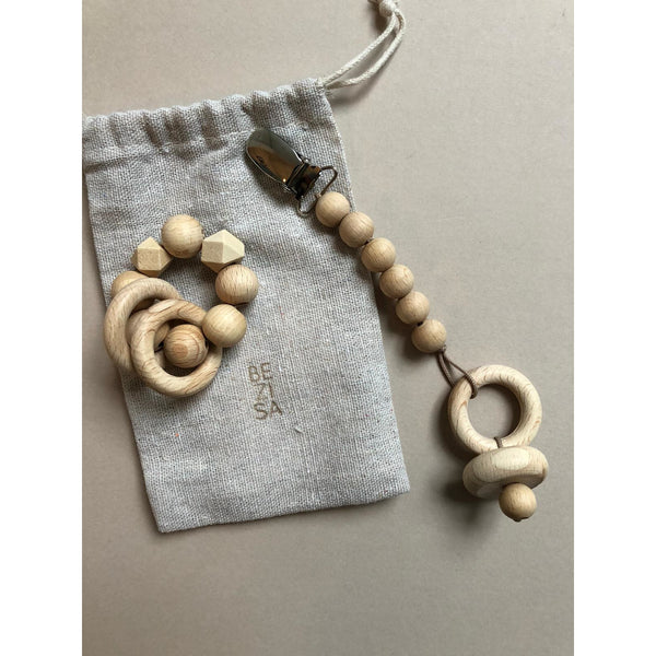 BEZISA NATURAL RATTLE & PACIFIER CLIP DOLL SET