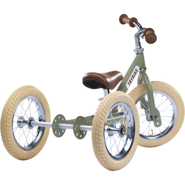 TRYBIKE 2 IN 1 VINTAGE GREEN BALANCE BIKE