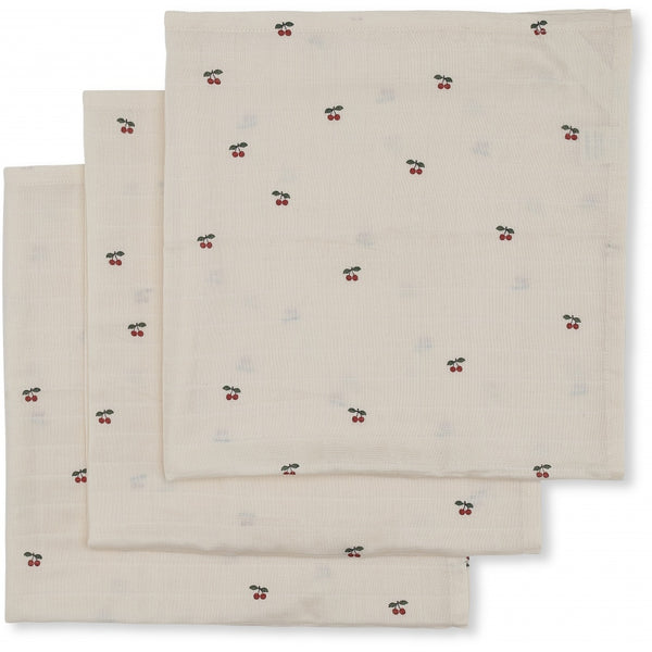 KONGES SLOJD CHERRY 3 PACK MUSLIN CLOTHS