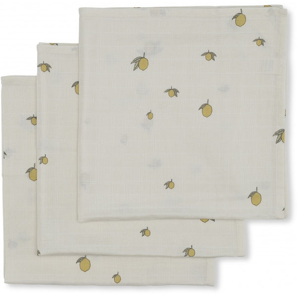 KONGES SLOJD LEMON 3 PACK MUSLIN CLOTHS
