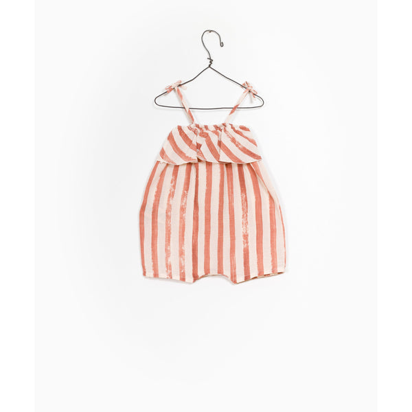 PLAY UP BRICK STRIPE FRILL ROMPER