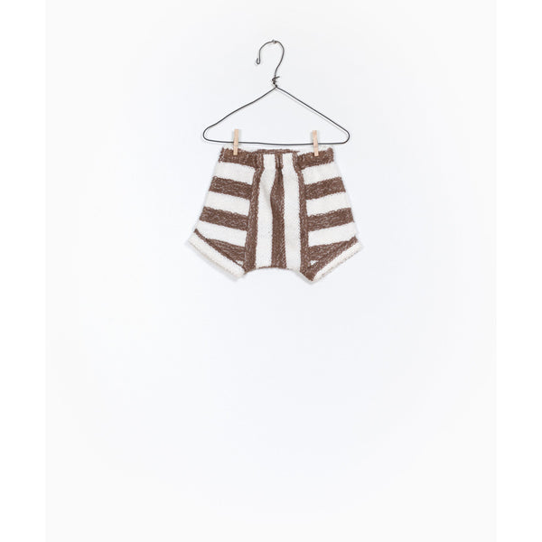 PLAY UP BROWN STRIPE FLEECE SHORTS