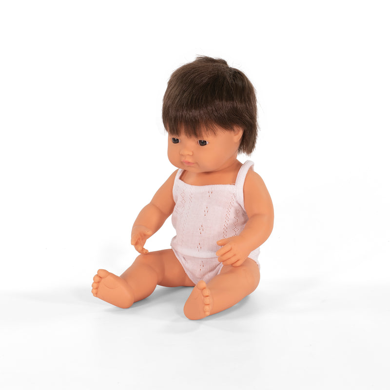 Miniland Boy 38cms Baby Doll - Brown Hair